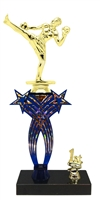 1st-5th Place Crossed Stars Riser Male Kick Boxing Trophy in 3 Sizes & Colors