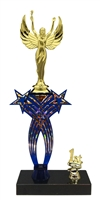 1st-5th Place Crossed Stars Riser Female Victory Trophy in 3 Sizes & Colors
