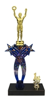1st-5th Place Crossed Stars Riser Male Victory Trophy in 3 Sizes & Colors