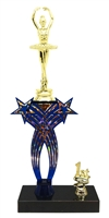 1st-5th Place Crossed Stars Riser Ballet Trophy in 3 Sizes & Colors