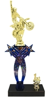 1st-5th Place Crossed Stars Riser Motocross Trophy in 3 Sizes & Colors