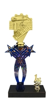 1st-5th Place Crossed Stars Riser Music Trophy in 3 Sizes & Colors