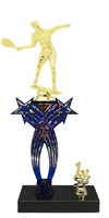 1st-5th Place Crossed Stars Riser Male Raquetball Trophy in 3 Sizes & Colors