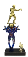 1st-5th Place Crossed Stars Riser Boxing Trophy in 3 Sizes & Colors