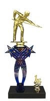 1st-5th Place Crossed Stars Riser Male Billiards - Pool Trophy in 3 Sizes & Colors