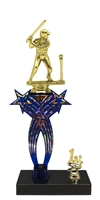 1st-5th Place Crossed Stars Riser Female T-Ball Trophy in 3 Sizes & Colors