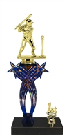 1st-5th Place Crossed Stars Riser Male T-Ball Trophy in 3 Sizes & Colors