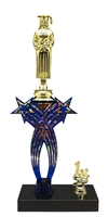 1st-5th Place Crossed Stars Riser Female Graduate Trophy in 3 Sizes & Colors