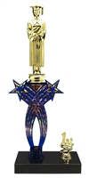 1st-5th Place Crossed Stars Riser Male Graduate Trophy in 3 Sizes & Colors