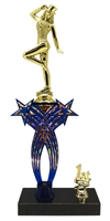 1st-5th Place Crossed Stars Riser Tap Dance Trophy in 3 Sizes & Colors
