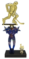 1st-5th Place Crossed Stars Riser Street Hockey Trophy in 3 Sizes & Colors