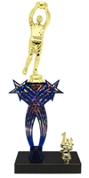 1st-5th Place Crossed Stars Riser Soccer Goalie Trophy in 3 Sizes & Colors