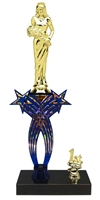 1st-5th Place Crossed Stars Riser Beauty Queen Trophy in 3 Sizes & Colors