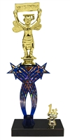 1st-5th Place Crossed Stars Riser Wisdom Scholastic Trophy in 3 Sizes & Colors