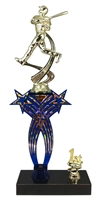 1st-5th Place Crossed Stars Riser Baseball Trophy in 3 Sizes & Colors