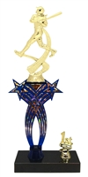 1st-5th Place Crossed Stars Riser Female Softball Trophy in 3 Sizes & Colors