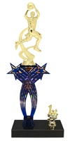 1st-5th Place Crossed Stars Riser Boys Basketball Trophy in 3 Sizes & Colors