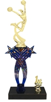 1st-5th Place Crossed Stars Riser Cheerleading Trophy in 3 Sizes & Colors