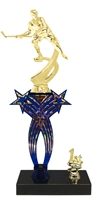 1st-5th Place Crossed Stars Riser Hockey Trophy in 3 Sizes & Colors