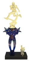 1st-5th Place Crossed Stars Riser Football Trophy in 3 Sizes & Colors
