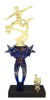 1st-5th Place Crossed Stars Riser Male Soccer Trophy in 3 Sizes & Colors