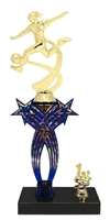 1st-5th Place Crossed Stars Riser Female Soccer Trophy in 3 Sizes & Colors
