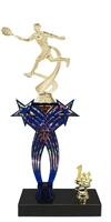 1st-5th Place Crossed Stars Riser Male Tennis Trophy in 3 Sizes & Colors