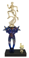 1st-5th Place Crossed Stars Riser Male Track Trophy in 3 Sizes & Colors