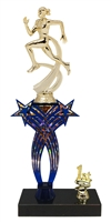 1st-5th Place Crossed Stars Riser Female Track Trophy in 3 Sizes & Colors