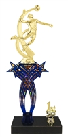 1st-5th Place Crossed Stars Riser Male Volleyball Trophy in 3 Sizes & Colors