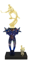1st-5th Place Crossed Stars Riser Female Hockey Trophy in 3 Sizes & Colors