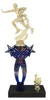 1st-5th Place Crossed Stars Riser Male Flag Football Trophy in 3 Sizes & Colors