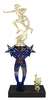 1st-5th Place Crossed Stars Riser Female Flag Football Trophy in 3 Sizes & Colors