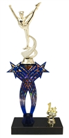 1st-5th Place Crossed Stars Riser Dance Trophy in 3 Sizes & Colors