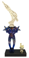 1st-5th Place Crossed Stars Riser Male Swimming Trophy in 3 Sizes & Colors