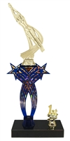 1st-5th Place Crossed Stars Riser Female Swimming Trophy in 3 Sizes & Colors