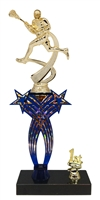 1st-5th Place Crossed Stars Riser Male Lacrosse Trophy in 3 Sizes & Colors