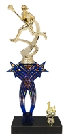 1st-5th Place Crossed Stars Riser Female Lacrosse Trophy in 3 Sizes & Colors