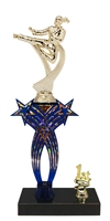 1st-5th Place Crossed Stars Riser Female Karate Trophy in 3 Sizes & Colors