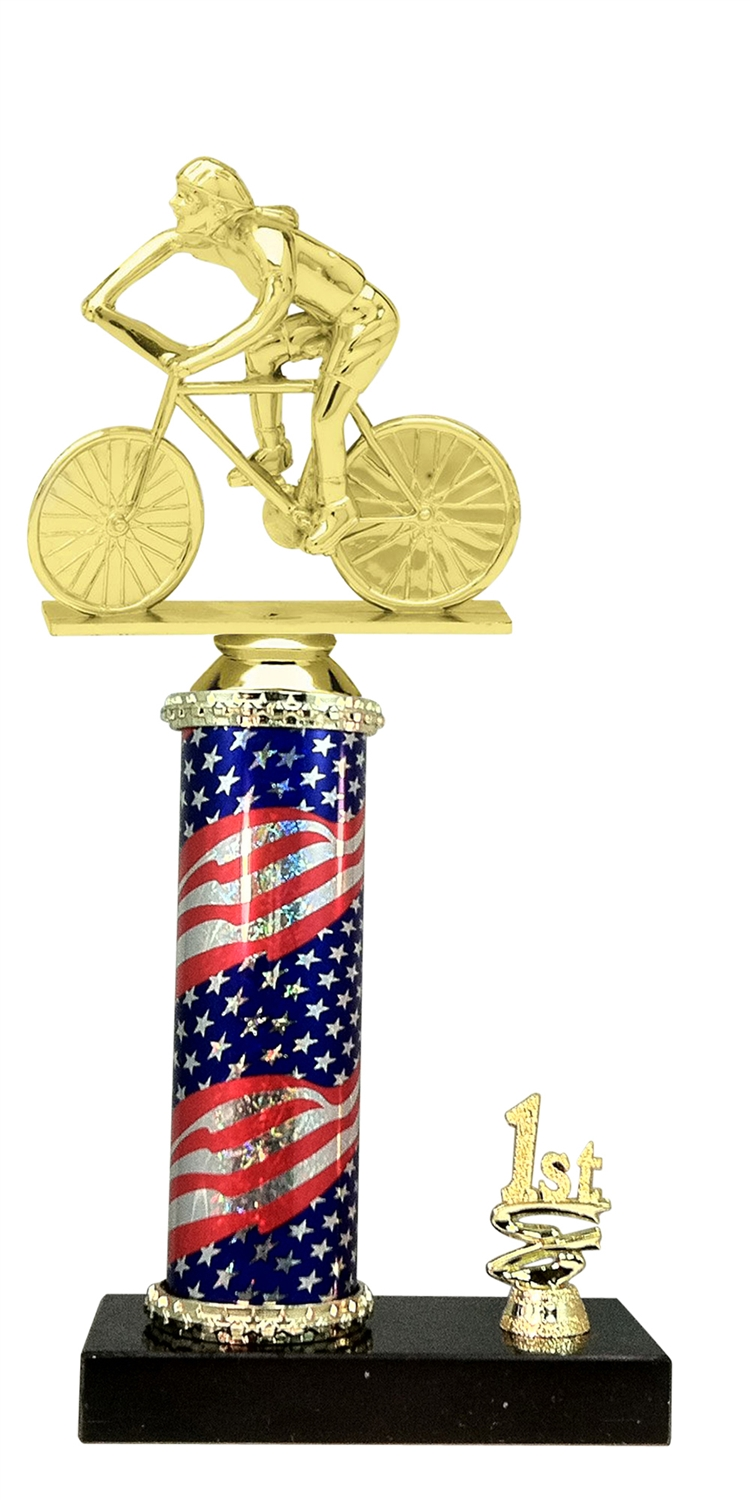 1st - 5th Place Flag Riser Female Cycling Trophy in 3 Sizes -