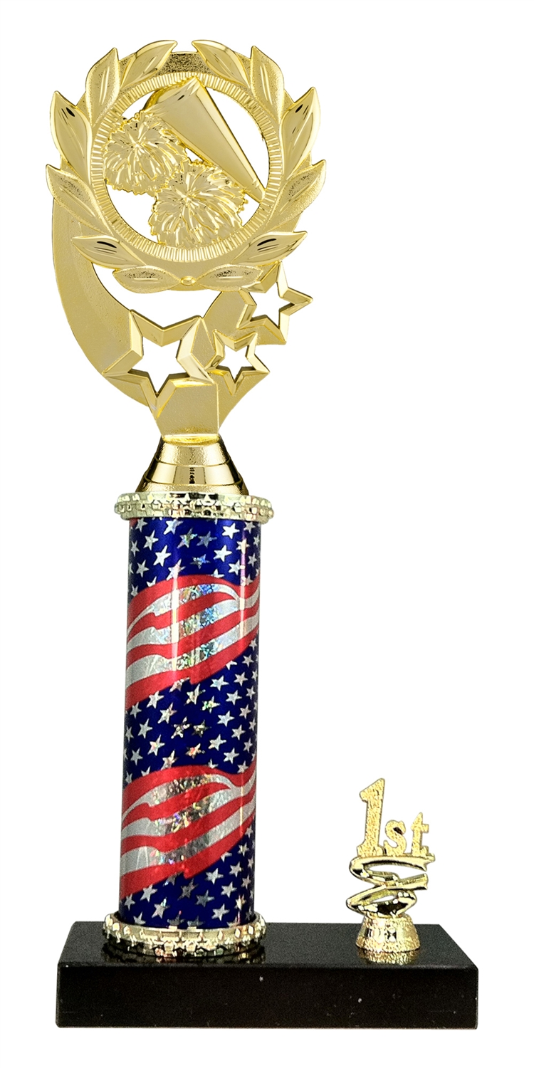1st - 5th Place Flag Riser Cheerleading Trophy