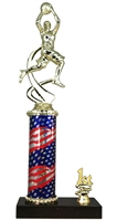 1st - 5th Place Flag Round Column Riser Boys Basketball Trophy in 3 Sizes