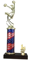1st - 5th Place Flag Round Column Riser Cheerleading Trophy in 3 Sizes