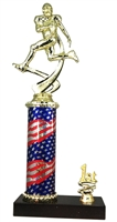 1st - 5th Place Flag Round Column Riser Football Trophy in 3 Sizes