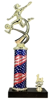 1st - 5th Place Flag Round Column Riser Female Soccer Trophy in 3 Sizes