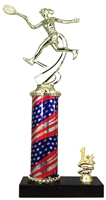 1st - 5th Place Flag Round Column Riser Female Tennis Trophy in 3 Sizes