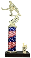 1st - 5th Place Flag Round Column Riser Female Hockey Trophy in 3 Sizes