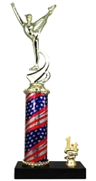 1st - 5th Place Flag Round Column Riser Dance Trophy in 3 Sizes