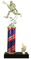 1st - 5th Place Flag Round Column Riser Male Lacrosse Trophy in 3 Sizes