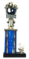 1st - 5th Place Allstar Wrestling Trophy in 11 Color Options